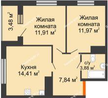 2 комнатная квартира 51,75 м² в ЖК Юго-Западный, дом ГП-1