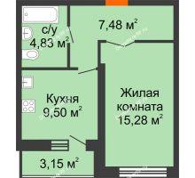 1 комнатная квартира 38,66 м², НЕБО на Ленинском, 215В - планировка