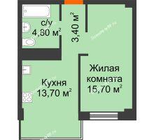 1 комнатная квартира 37,6 м² в Микрорайон Европейский, дом №9 блок-секции 1,2 - планировка
