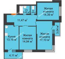 3 комнатная квартира 78,1 м², ЖК Время - планировка
