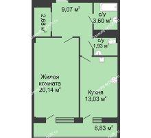 1 комнатная квартира 50,7 м² в  ЖК РИИЖТский Уют, дом Секция 1-2 - планировка