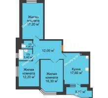 3 комнатная квартира 65,9 м² в ЖК Перспектива, дом Литер 3.5 - планировка