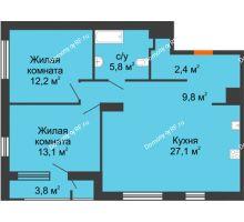 2 комнатная квартира 70,4 м², Жилой дом Фамилия - планировка