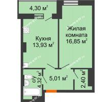 1 комнатная квартира 43,81 м² - ЖК Семейный
