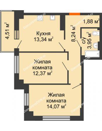 2 комнатная квартира 55,2 м² в ЖК Аврора, дом № 3