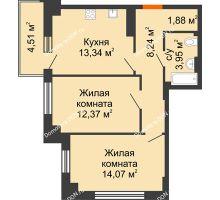 2 комнатная квартира 55,2 м² в ЖК Аврора, дом № 3 - планировка
