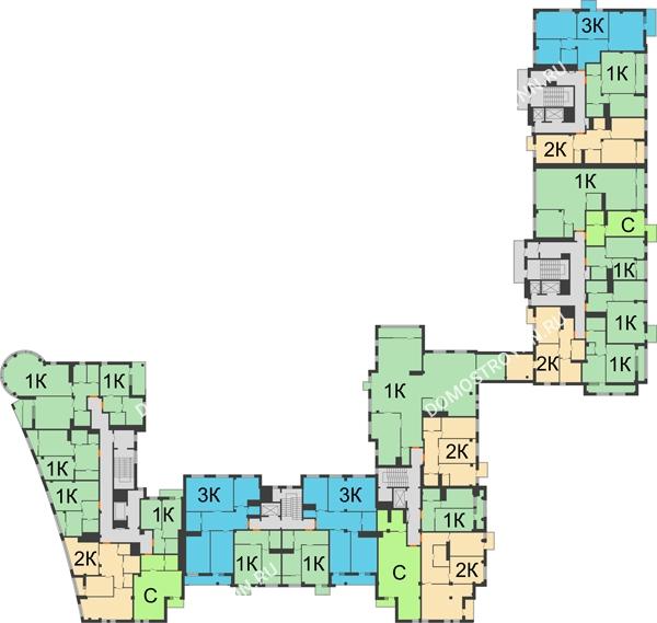 Планировка 5 этажа в доме № 1 в ЖК Renaissance (Ренессанс)