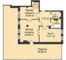 2 комнатная квартира 82 м² в ЖК Премиум, дом №1
