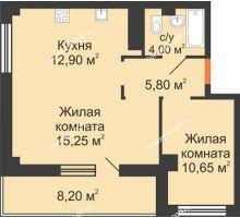 2 комнатная квартира 51,8 м², ЖК Вершина - планировка