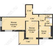 2 комнатная квартира 57,1 м² в ЖК Сормовская сторона, дом № 4