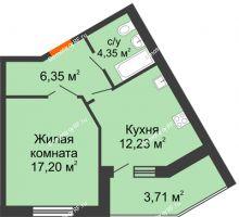 1 комнатная квартира 43,84 м² в ЖК Бунина парк, дом 3 этап, блок-секция 3 С - планировка