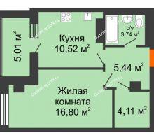 1 комнатная квартира 45,62 м², ЖК Площадь Ленина - планировка