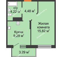 1 комнатная квартира 35,46 м² в ЖК Светлоград, дом Литер 22 - планировка