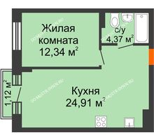 1 комнатная квартира 41,96 м², ЖК Шаляпин - планировка