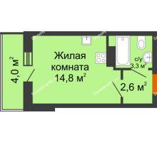 Студия 22,7 м² в ЖК Самолет 2, дом Литер 4 - планировка