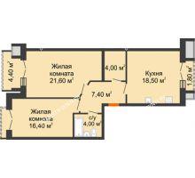 2 комнатная квартира 75 м², Жилой дом: г. Дзержинск, ул. Кирова, д.12 - планировка