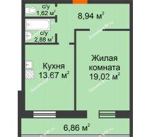 1 комнатная квартира 52,99 м², ЖК Дом на Троицкой - планировка