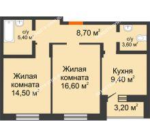 2 комнатная квартира 59,8 м² в ЖК Подкова на Цветочной, дом № 7 - планировка