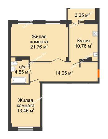 2 комнатная квартира 66,21 м² - ЖК Семейный