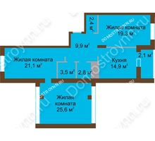 3 комнатная квартира 101,6 м² в ЖК Монолит, дом № 89, корп. 1, 2 - планировка