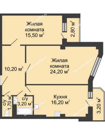 2 комнатная квартира 74 м² - ЖК Дом на Береговой
