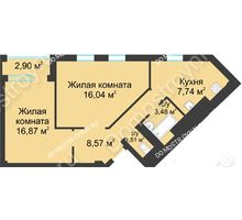2 комнатная квартира 55,63 м² в ЖК Воскресенская слобода, дом №1 - планировка