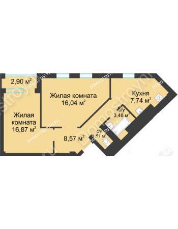 2 комнатная квартира 55,63 м² в ЖК Воскресенская слобода, дом №1