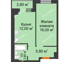 1 комнатная квартира 38,7 м² в Микрорайон Прибрежный, дом № 8 - планировка
