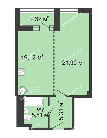 1 комнатная квартира 54,2 м² - ЖК Бристоль