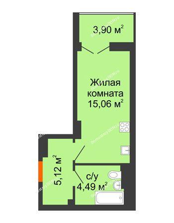 Студия 26,62 м² в ЖК Аврора, дом № 3