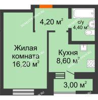 1 комнатная квартира 36,4 м² в ЖК Подкова на Цветочной, дом № 9 - планировка