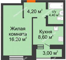 1 комнатная квартира 34,9 м² в ЖК Подкова на Цветочной, дом № 7 - планировка