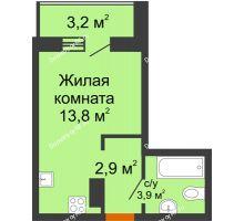 Студия 22,2 м² в ЖК Самолет 2, дом Литер 4 - планировка