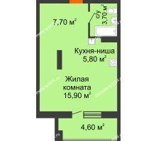 Студия 37,7 м² в ЖК Три Сквера (3 Сквера), дом № 31 - планировка