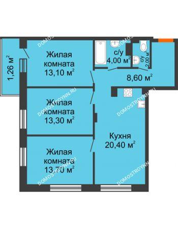 3 комнатная квартира 76,36 м² в ЖК Заречье, дом № 7