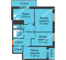 3 комнатная квартира 74,44 м² в ЖК Циолковский, дом № 5 - планировка
