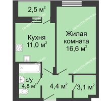 1 комнатная квартира 41,15 м² в ЖК Октава, дом №6 - планировка