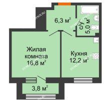 1 комнатная квартира 42,2 м² в ЖК Цветы 2, дом № 7 - планировка