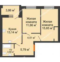 2 комнатная квартира 77,6 м² в ЖК Измаильский экоквартал, дом 1 этап - планировка