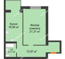 1 комнатная квартира 55,3 м², ЖК Зеленый квартал 2 - планировка