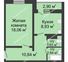 1 комнатная квартира 43,65 м² в ЖК Бурнаковский, дом № 39