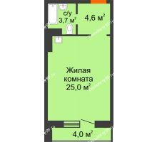 Студия 35,3 м² в ЖК Мичурино, дом № 3.2 - планировка
