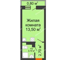 Студия 20,1 м² в ЖК SkyPark (Скайпарк), дом Литер 1, корпус 1, блок-секция 2-3 - планировка