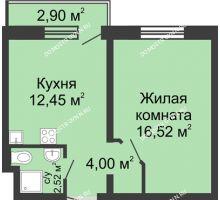 1 комнатная квартира 36,36 м² в ЖК Мончегория, дом № 3 - планировка