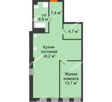 1 комнатная квартира 71,34 м² в ЖК Георгиевский, дом 6 - планировка