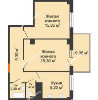 2 комнатная квартира 53,85 м² в ЖК Грин Парк, дом Литер 2 - планировка