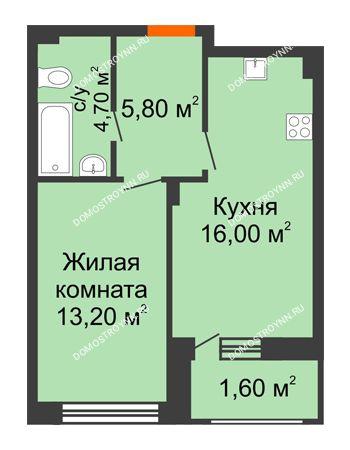 1 комнатная квартира 41,3 м² в ЖК Заречье, дом № 7