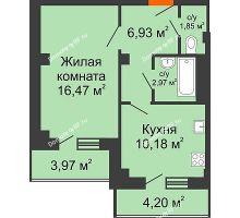 1 комнатная квартира 41,67 м² в ЖК Парковый, дом 6 позиция, блок-секция 3 - планировка