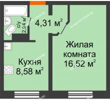 1 комнатная квартира 32,35 м² в ЖК Корабли, дом № 9-1
