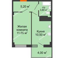 1 комнатная квартира 33,15 м² в ЖК Грин Парк, дом Литер 2 - планировка